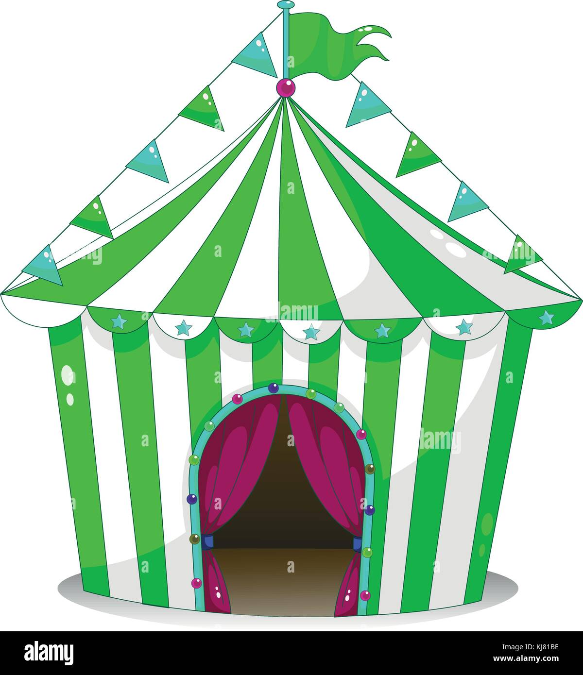 Illustration of a green circus tent on a white background - Stock Vector