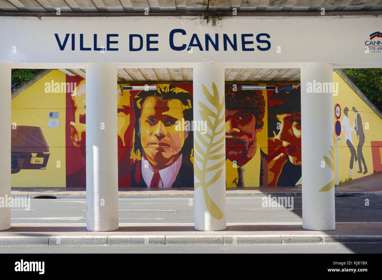 Cannes Underpass with Pulp Fiction Wall Paintings or Mural Celebrating the Cannes Film Festival & Film Industry, - Stock Image