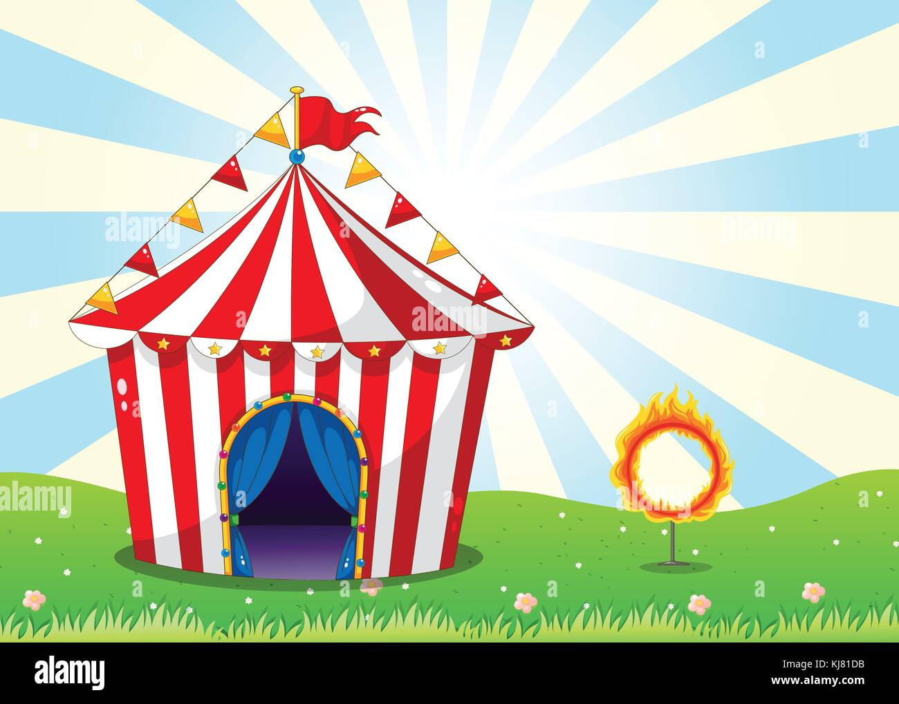 Illustration of a circus tent and the ring with fire - Stock Image