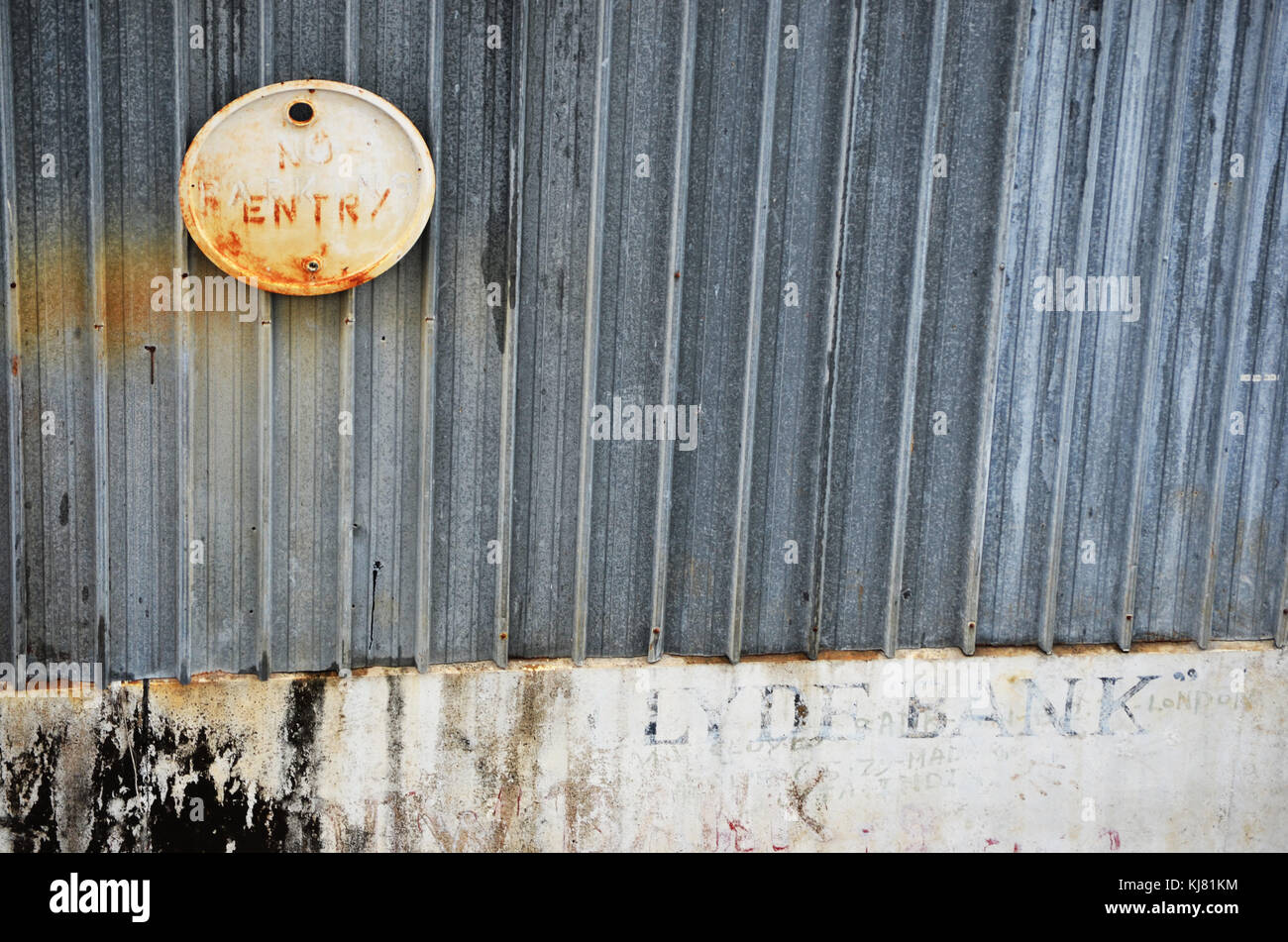 No entry sign taken a dockside at port in Papua New Guinea - Stock Image