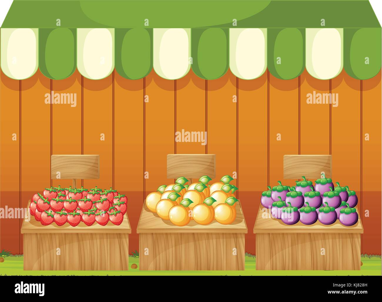 Illustration of the three fruitstands with empty boards on a white background Stock Vector