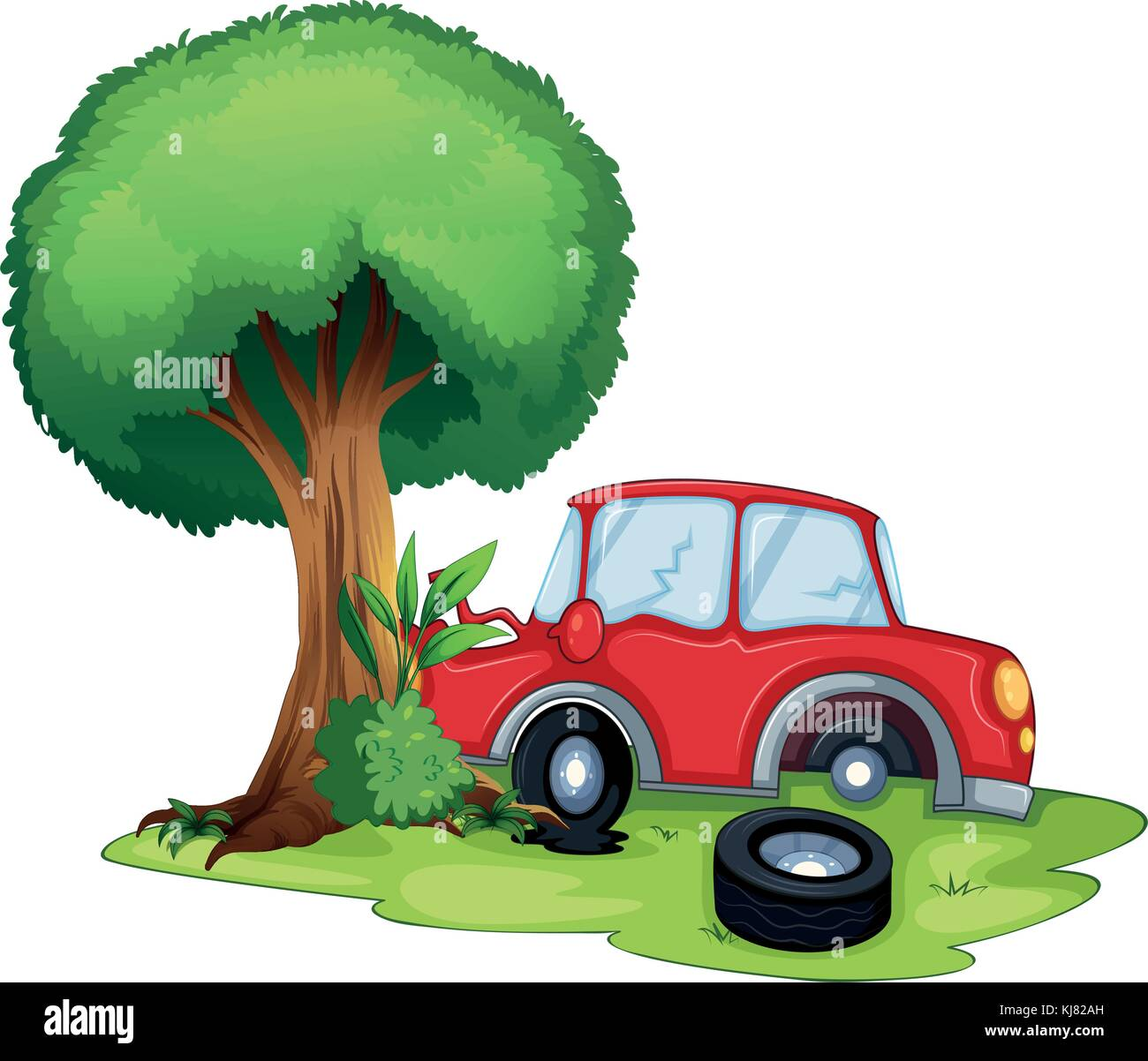 Illustration of a red car bumping on a tree on a white background - Stock Vector