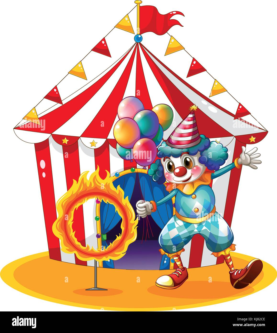 Illustration of a clown holding balloons near the ring of fire on a white background - Stock Image