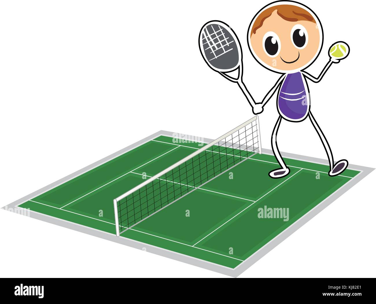 Illustration of a young boy playing tennis on a white background - Stock Image