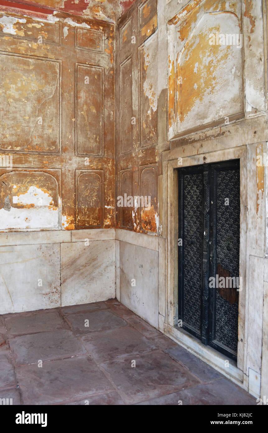Door and doorway within stone room taken New Delhi India - Stock Image