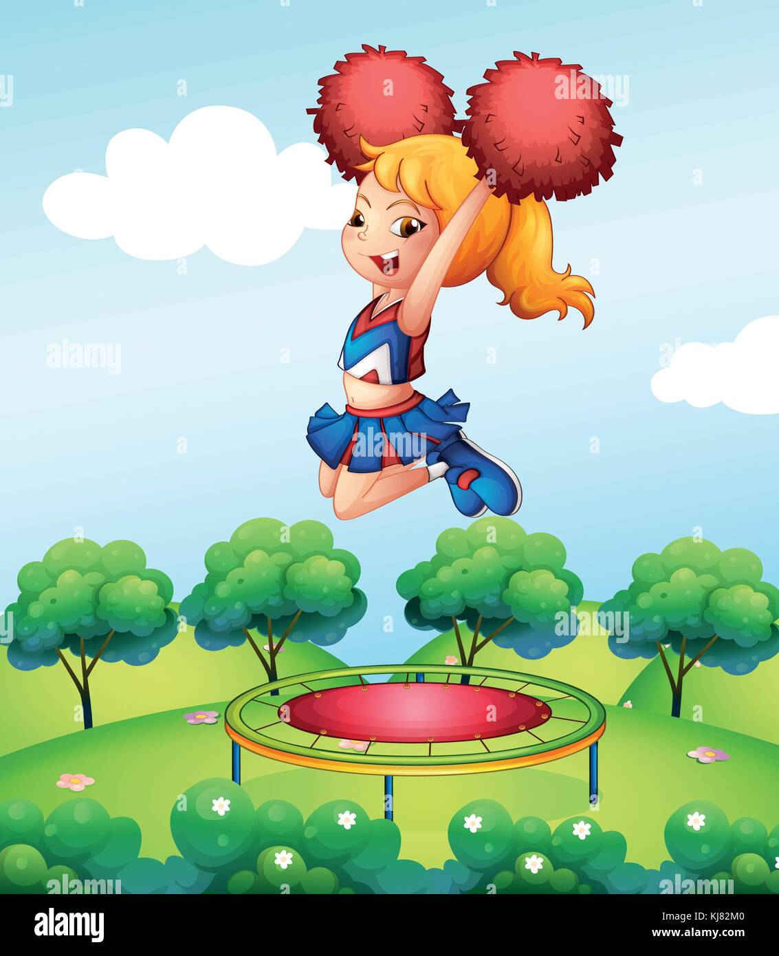 Illustration of a cheerdancer holding her red pompoms above the trampoline - Stock Vector