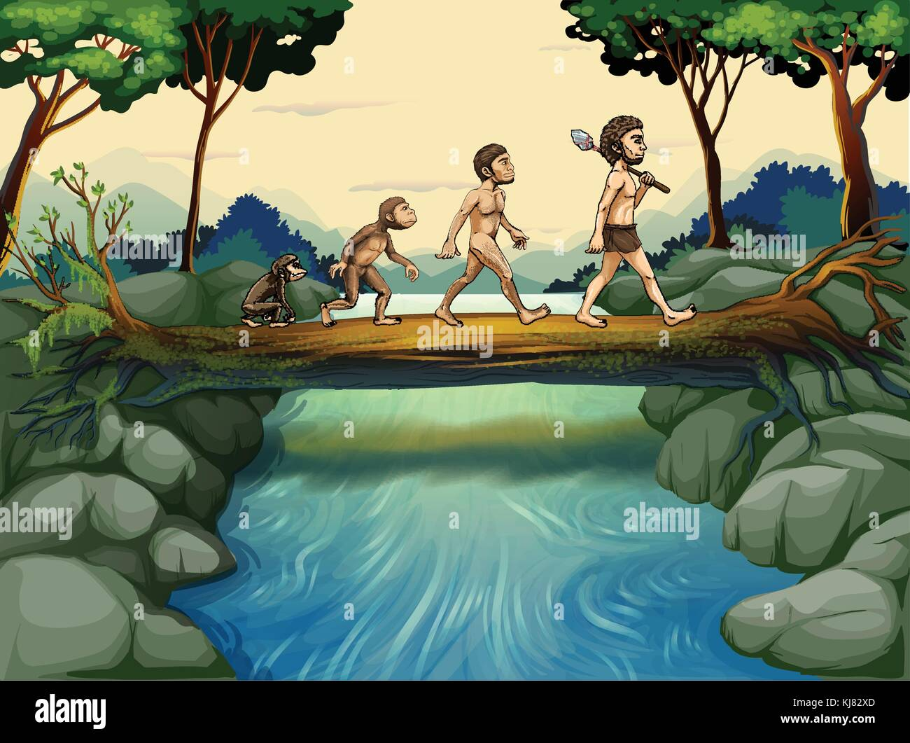 Illustration of the evolution of man at the river - Stock Image