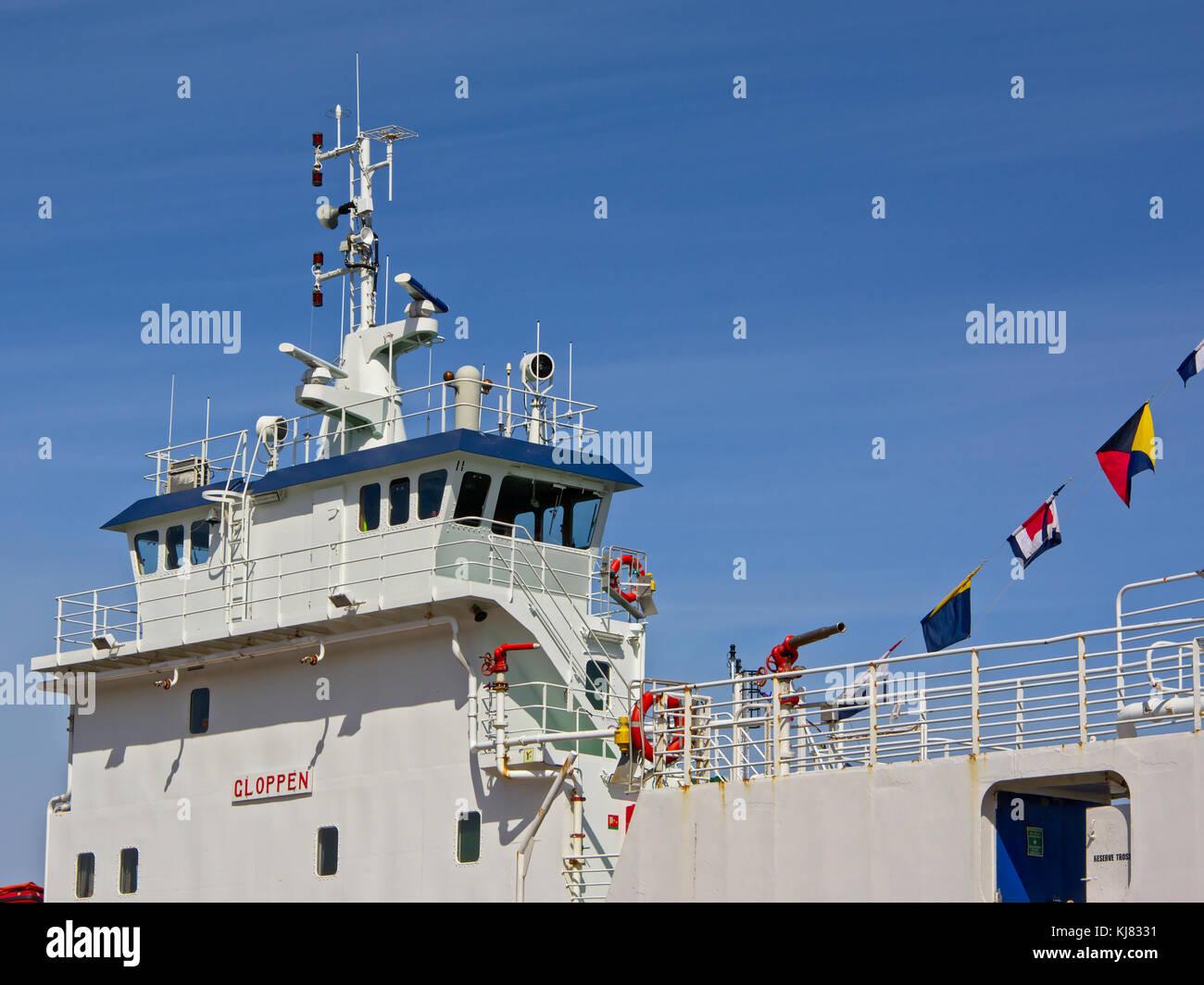 White painted captain`s cabin on a passenger ship, taken in Stavanger harbor, Norway - Stock Image