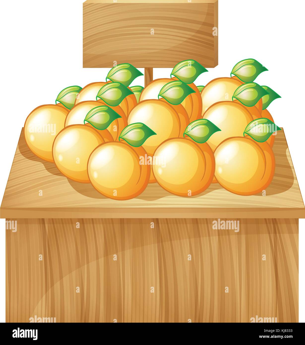 Illustration of a fruitstand with empty signboard on a white background Stock Vector