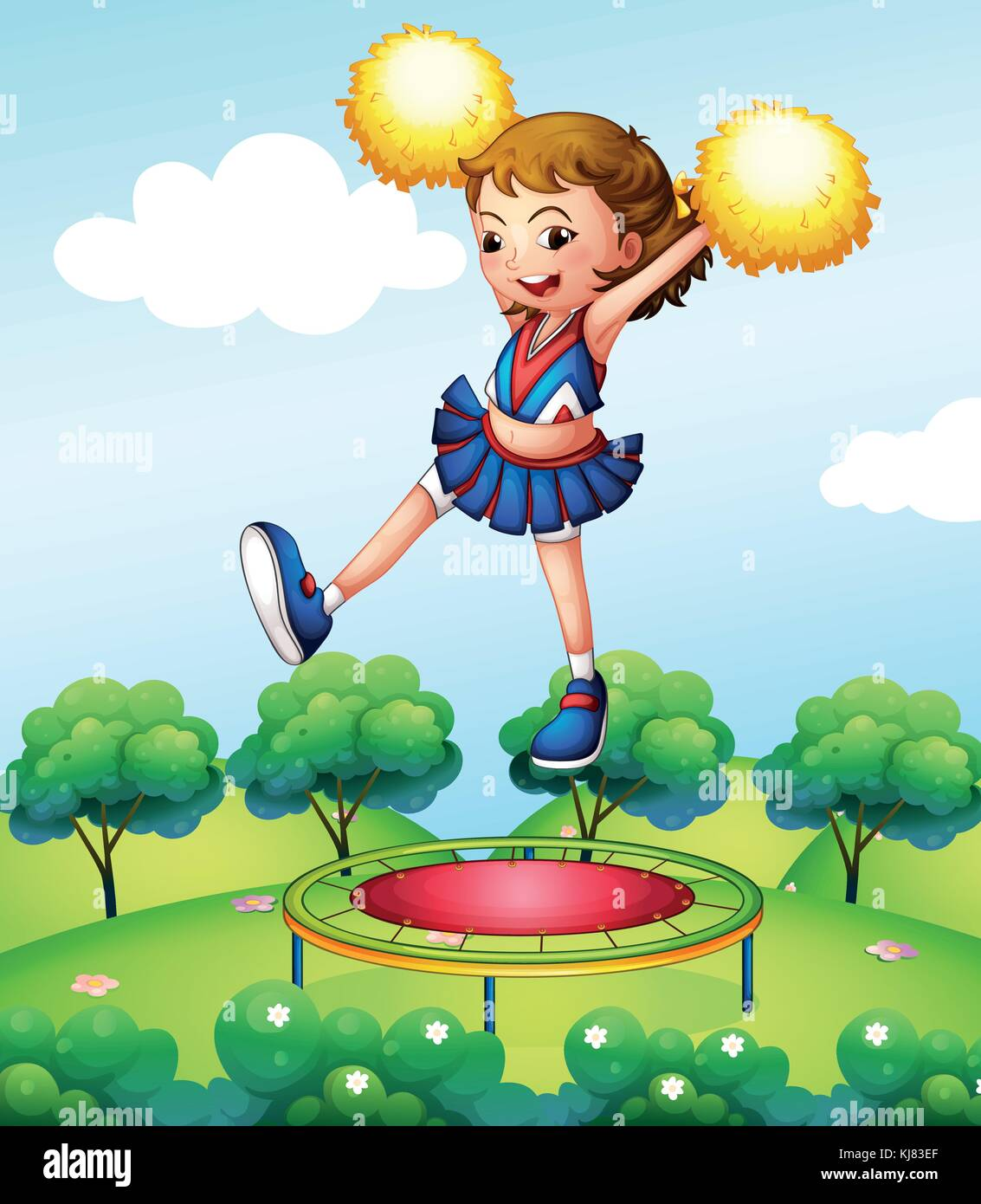 Illustration of a trampoline below a young cheerdancer - Stock Vector
