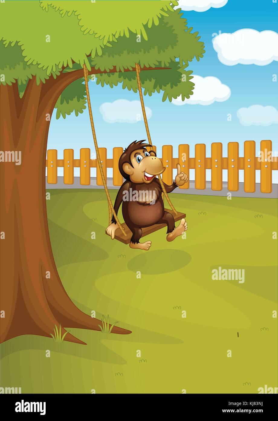 Illustration Of A Monkey Swinging On A Tree Stock Vector Art