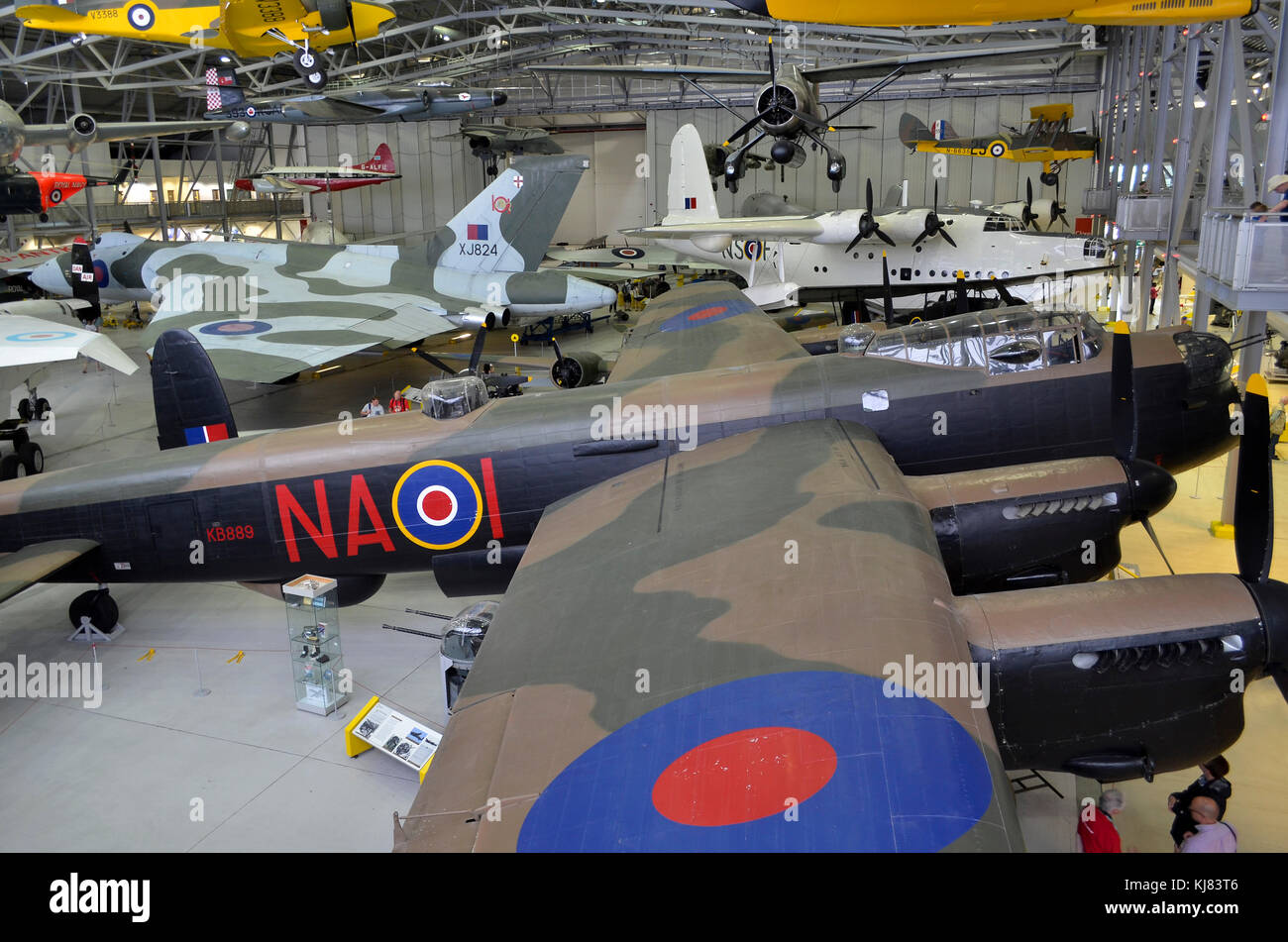 Duxford Airspace aviation museum, Duxford, UK. Overview with Avro lancaster in foreground. - Stock Image