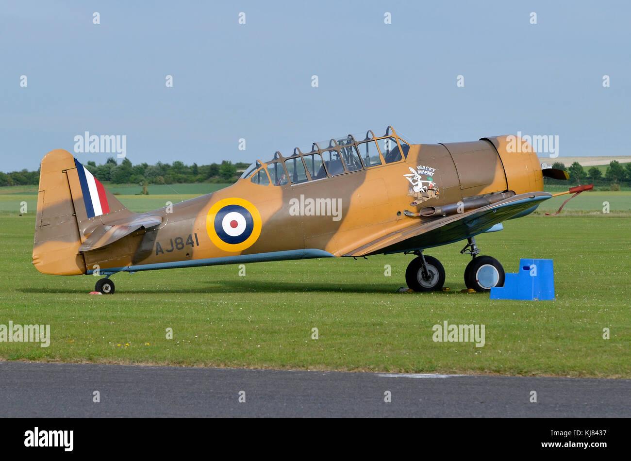 North American T-6 Texan, Wacky Wabbit, RAF colours, Duxford, UK. - Stock Image