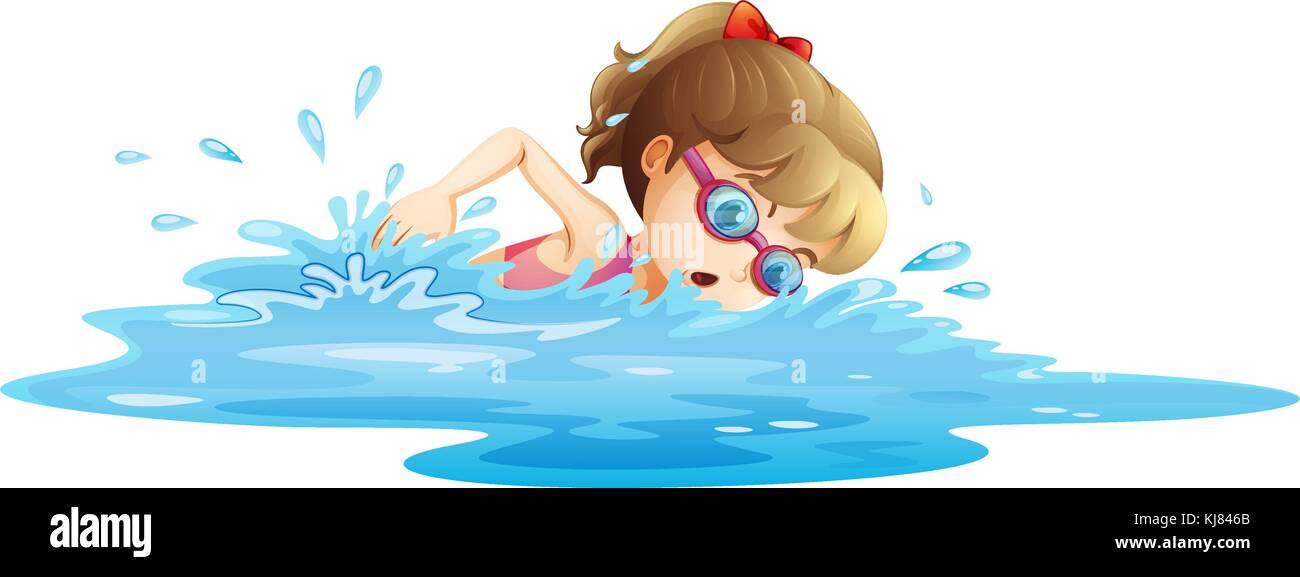 Illustration of a girl wearing a pink swimwear swimming on a white background - Stock Vector