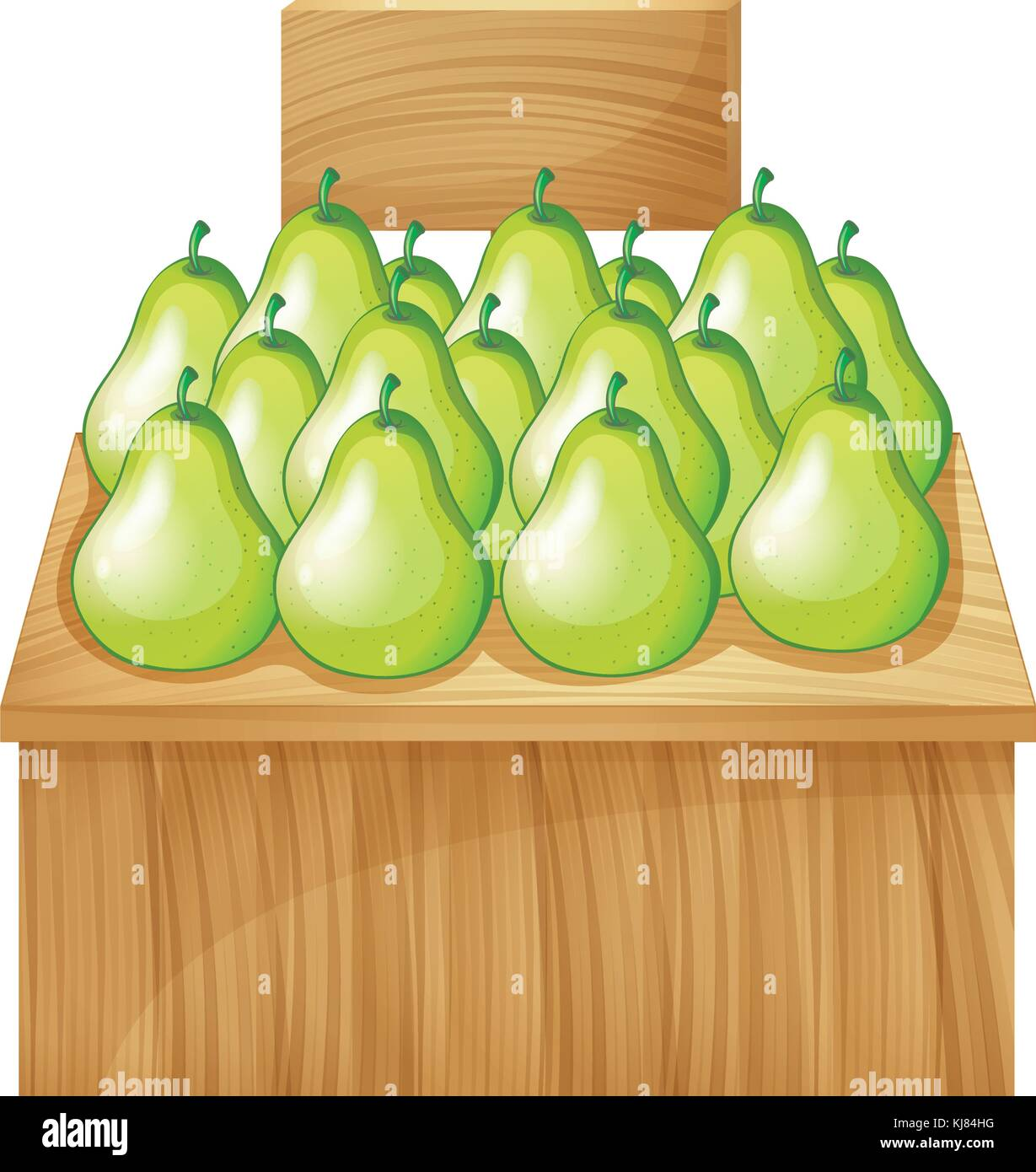 Illustration of a fruitstand at the market with an empty signboard on a white background Stock Vector
