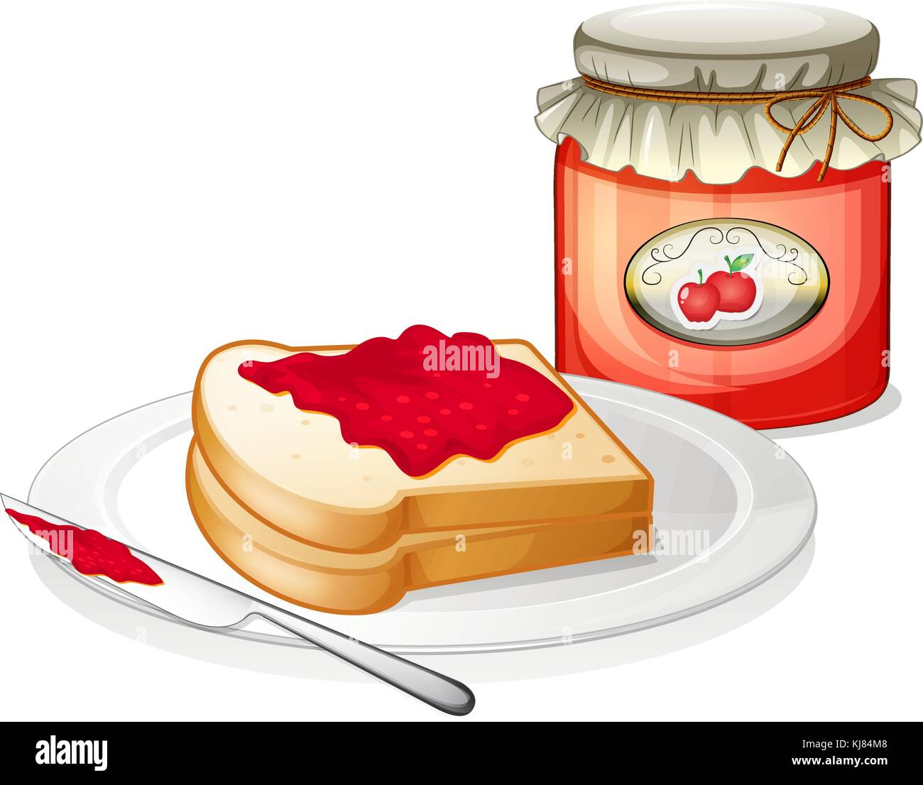 Illustration of an apple jam with a sandwich in the plate on a white background - Stock Vector