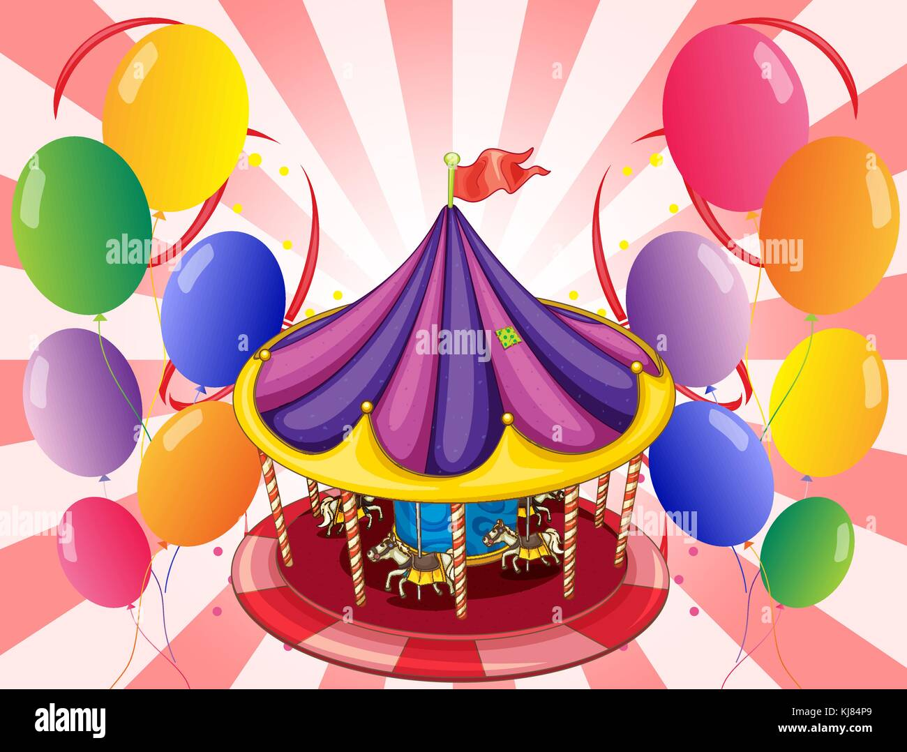 Illustration of a carousel at the center of the balloons - Stock Image