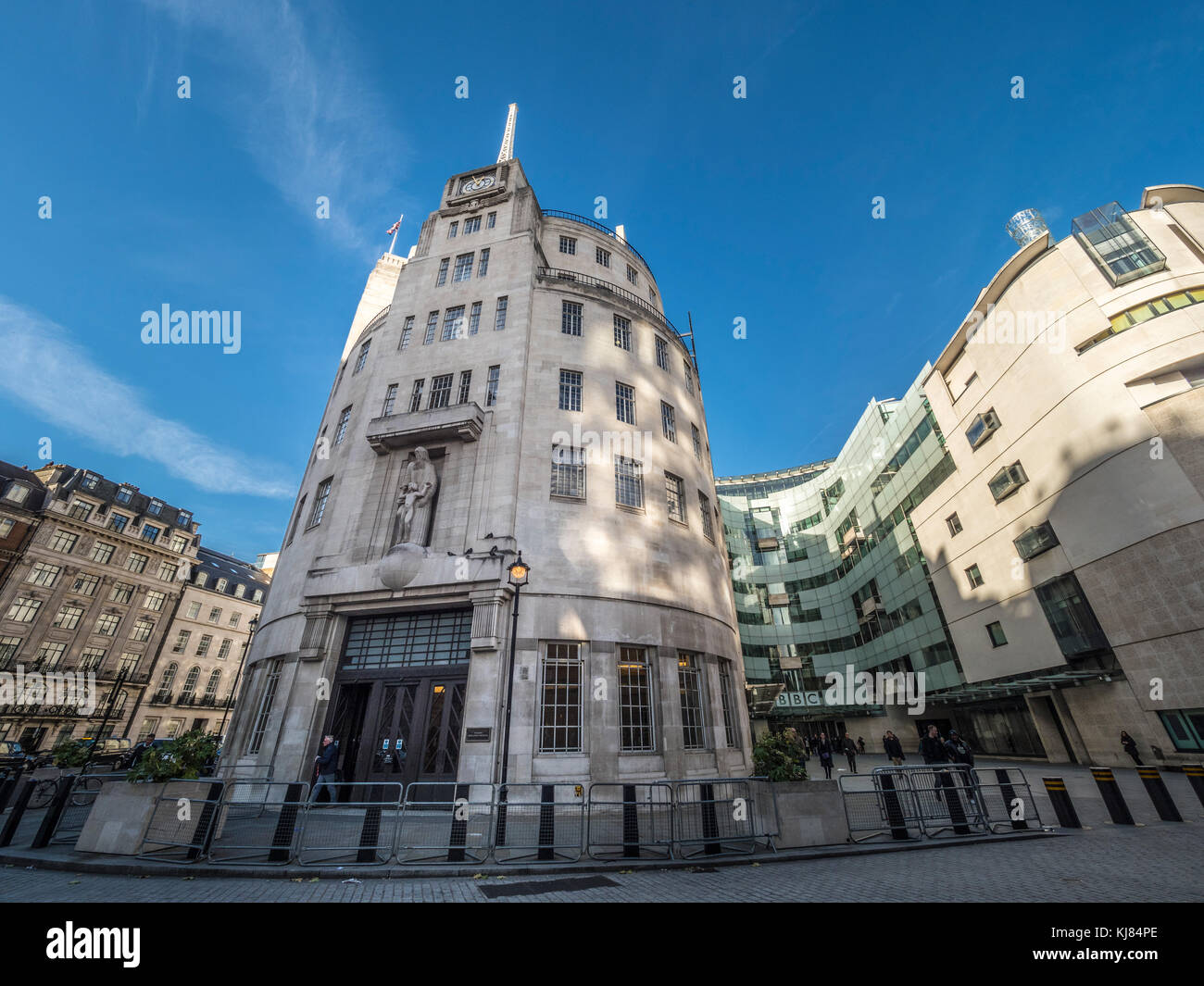 BBC headquarters, a renovated Portland Stone edifice with cutting-edge studios and a public piazza. Portland Place, - Stock Image