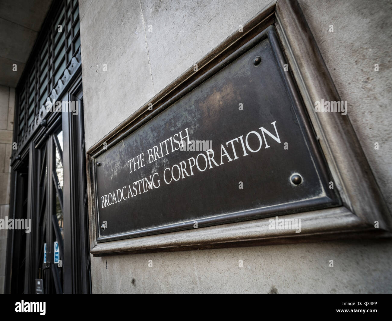 BBC headquarters, a renovated Portland Stone edifice with cutting-edge studios and a public piazza. Portland Place, - Stock Image