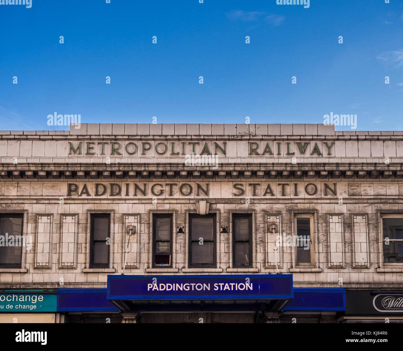 Paddington underground station entrance, London, UK. - Stock Image
