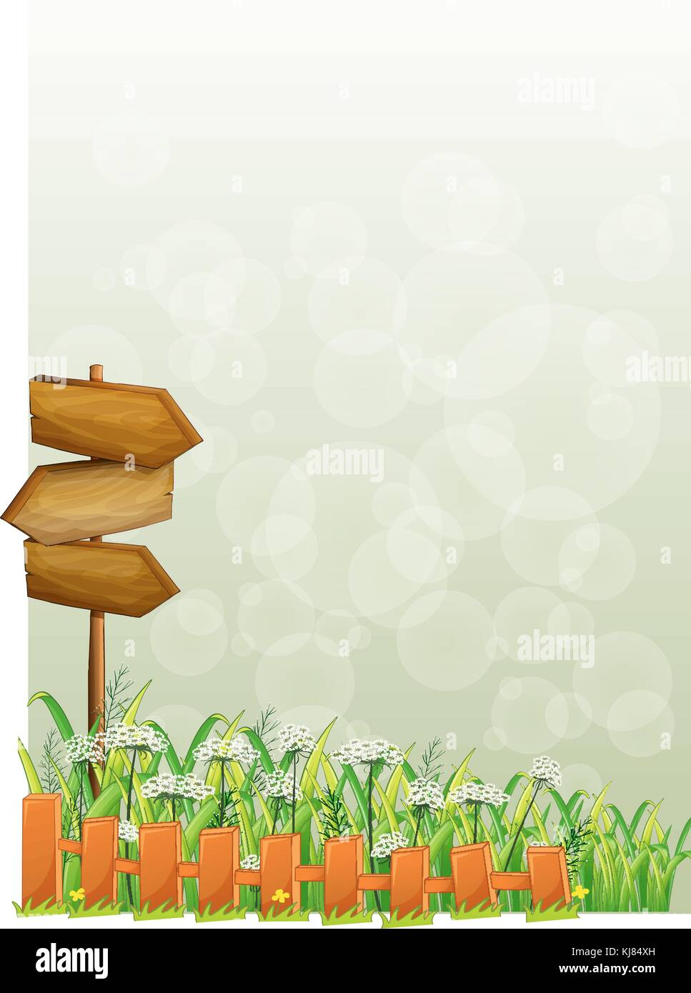 Illustration of a stationery with wooden arrows and fence on a white background - Stock Vector
