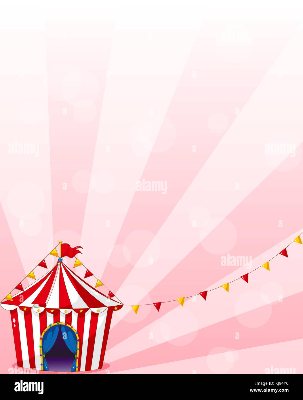 Illustration of a red circus tent with banners - Stock Vector