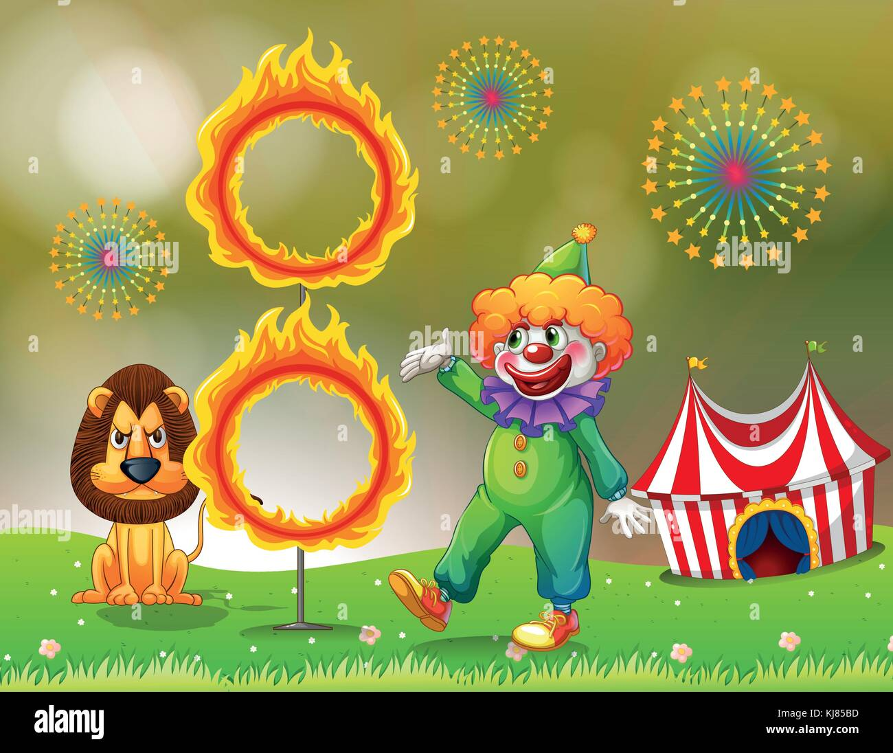 Illustration of a ring of fire with a clown and a lion at the carnival - Stock Image