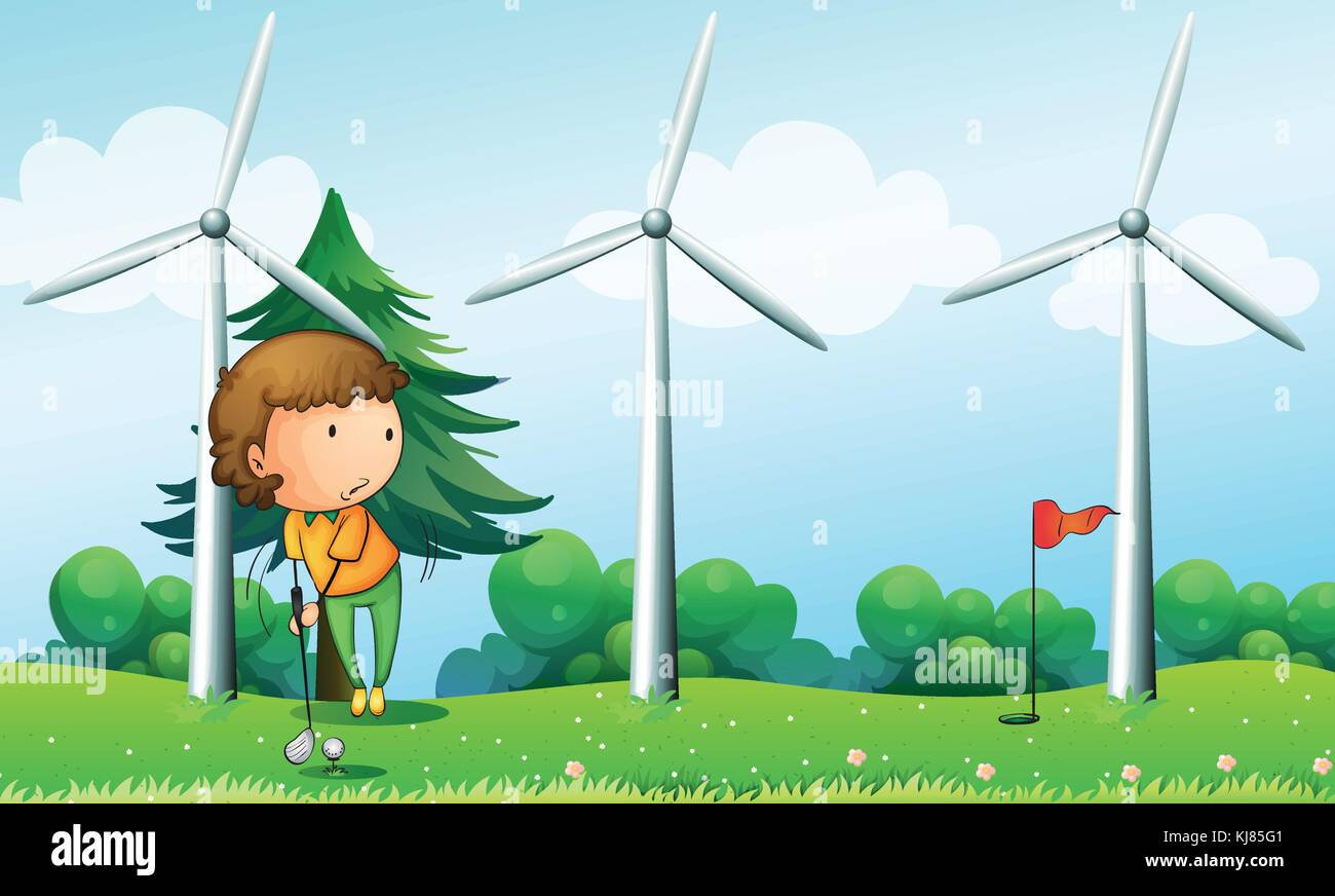 Illustration of a girl playing golf near the windmills - Stock Vector