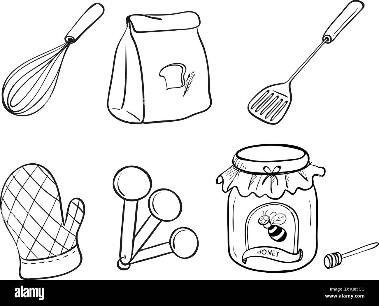 Illustration of a doodle set of kitchen utensils, baking powder and honey jam on a white background - Stock Vector