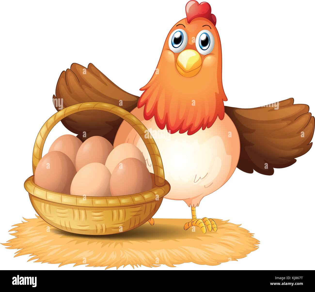 Illustration of a hen and a basket of egg on a white background - Stock Vector