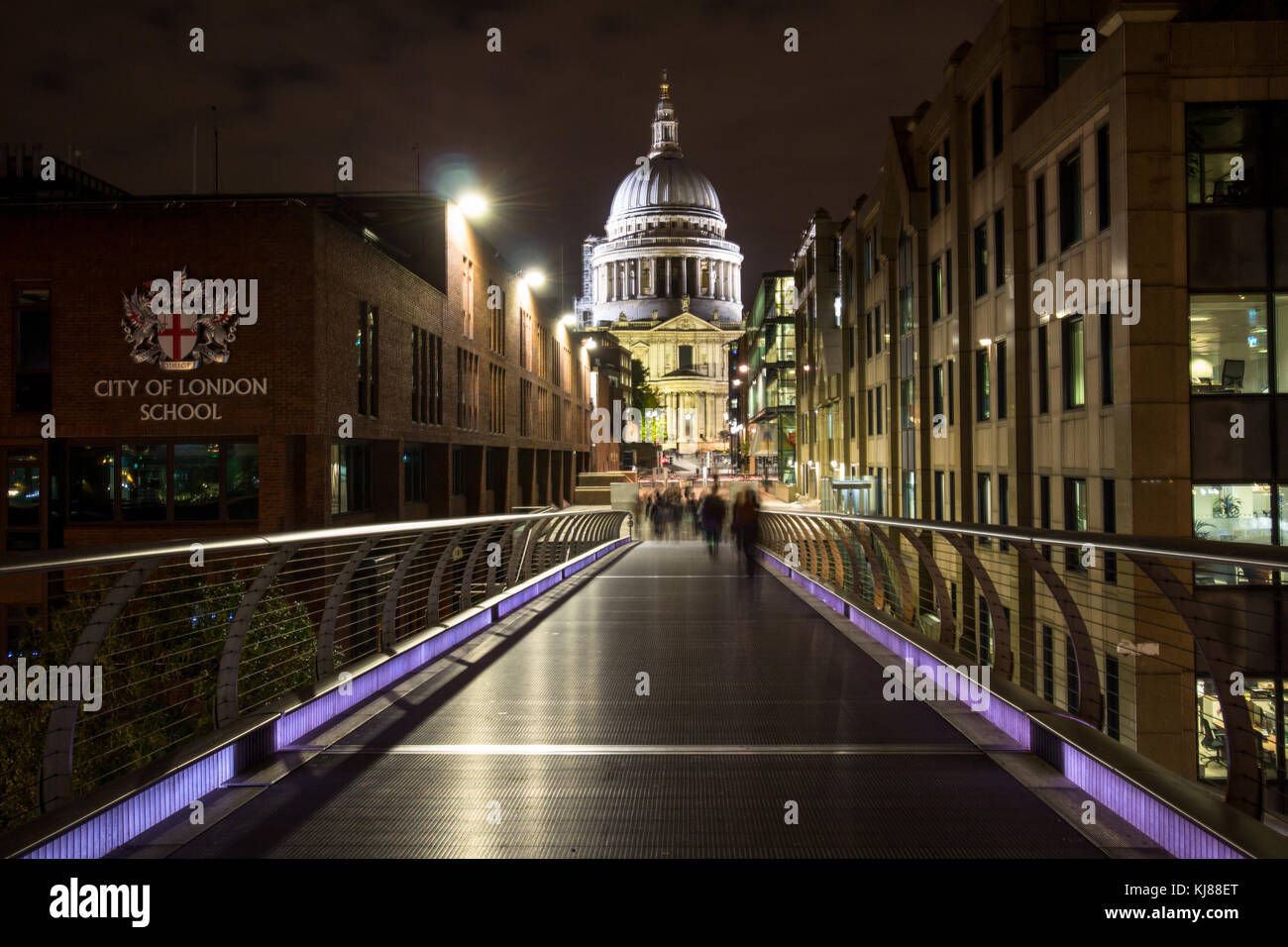 View towards Sir Christopher Wren's iconic famous landmark St Paul's cathedral from south back at night - Stock Image