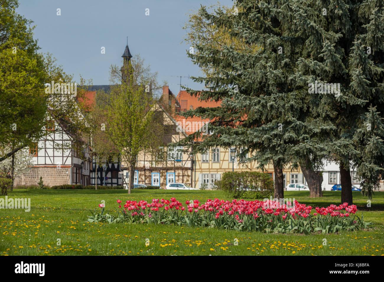 Welterbestadt Quedlinburg Fachwerkfassen im Stadtkern - Stock Image