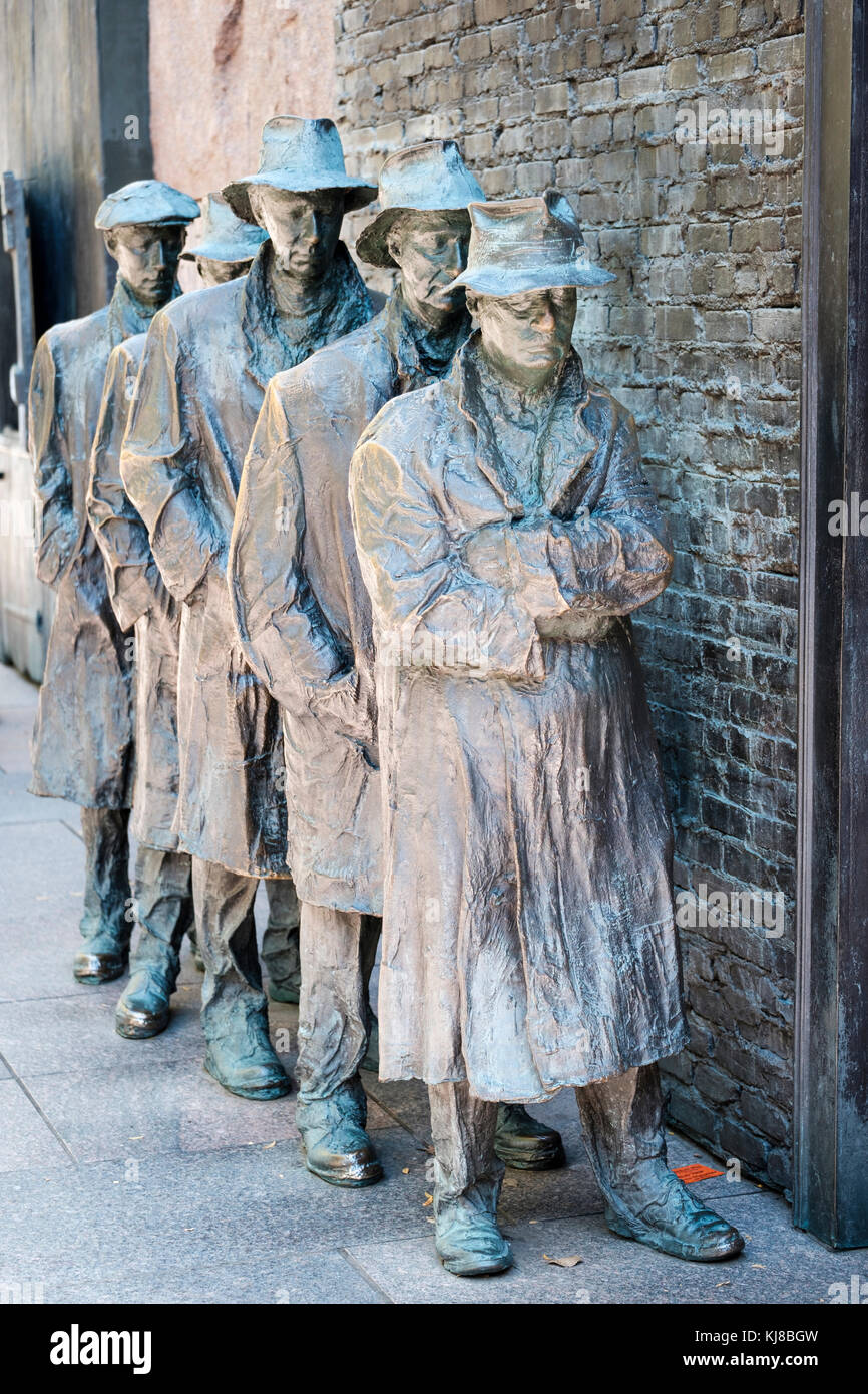 Detail of Bread Line, by George Segal, Room Two of Franklin Delano Roosevelt Memorial, FDR Memorial, Washington, - Stock Image