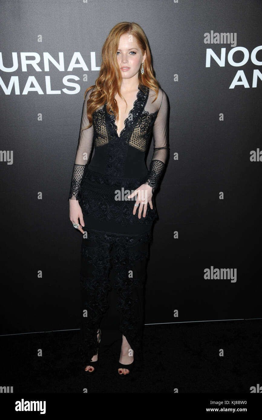 NEW YORK, NY - NOVEMBER 17: Ellie Bamber attends the 'Nocturnal Animals' New York premiere at The Paris - Stock Image