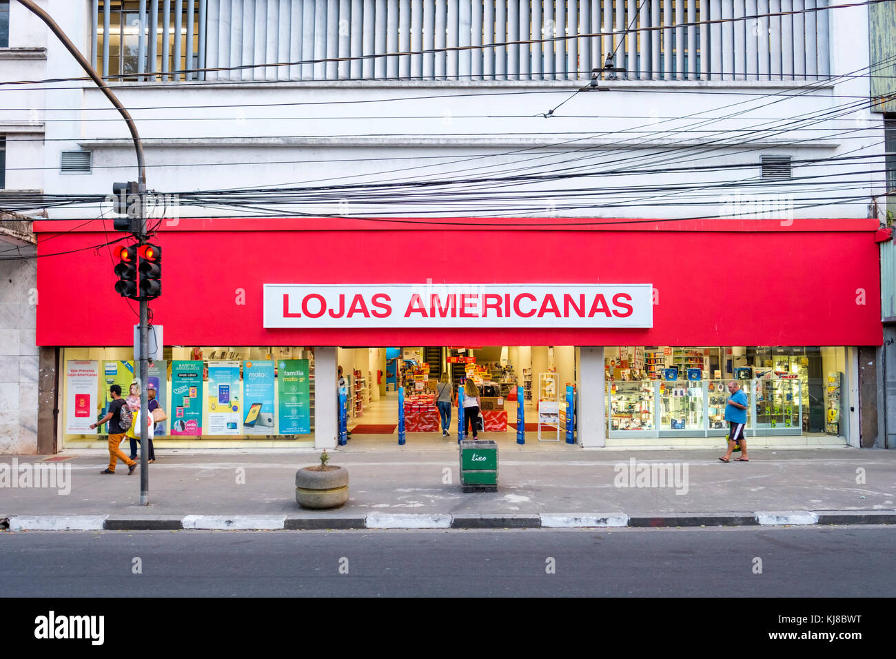 Lojas Americanas S.A., outside view, pedestrians, consumers, Brazilian retail chain store facade with brand name, - Stock Image