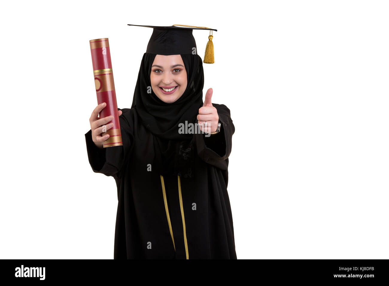 Happy graduate arabic muslim student with diploma - Stock Image