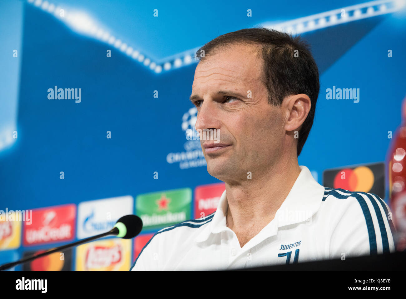 Turin, Italy. 21st Nov, 2017. Massimiliano Allegri during the Juventus FC press conference before the Champions - Stock Image