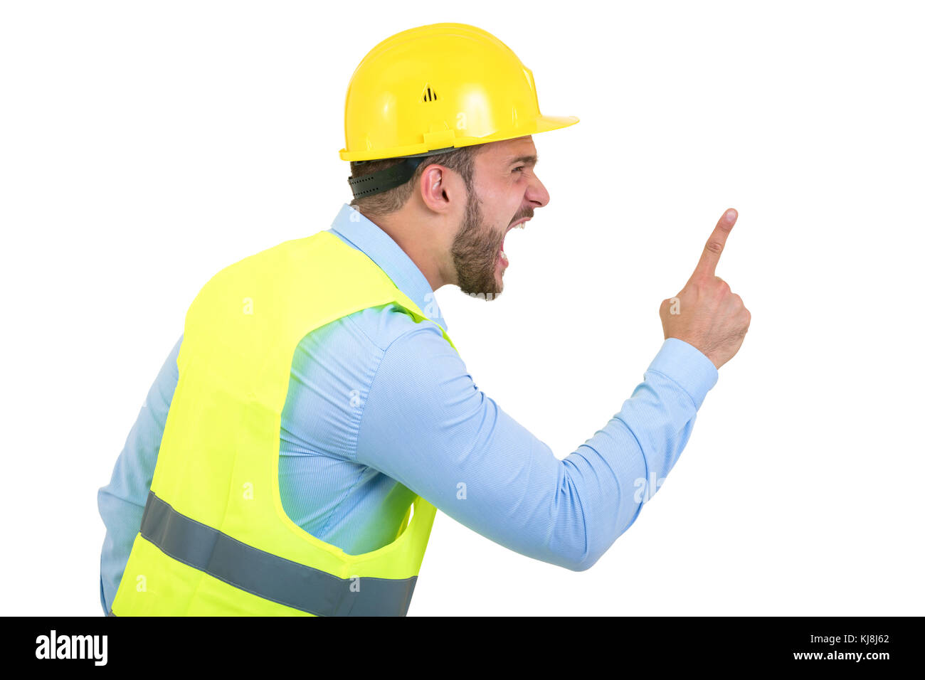 Angry builder or constructor yelling at somebody as fury concept isolated on white background with copyspace - Stock Image