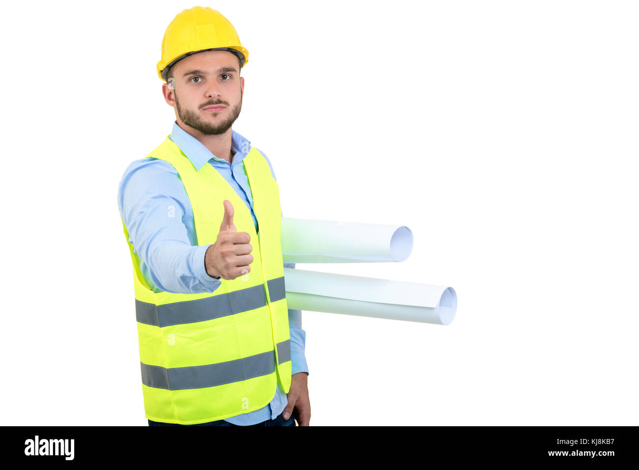 Young Engineer portrait holding blueprints isolated on white - Stock Image