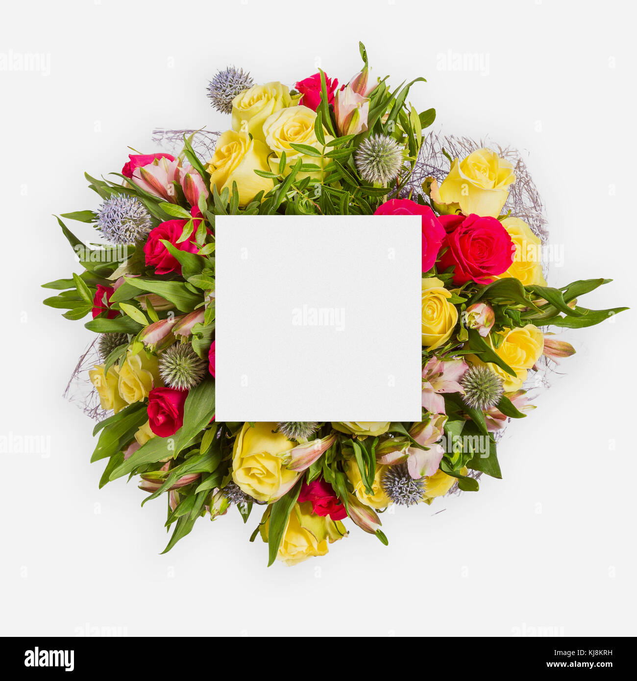 Happy birthday card with flowers flat lay stock photo 166148293 alamy happy birthday card with flowers flat lay izmirmasajfo
