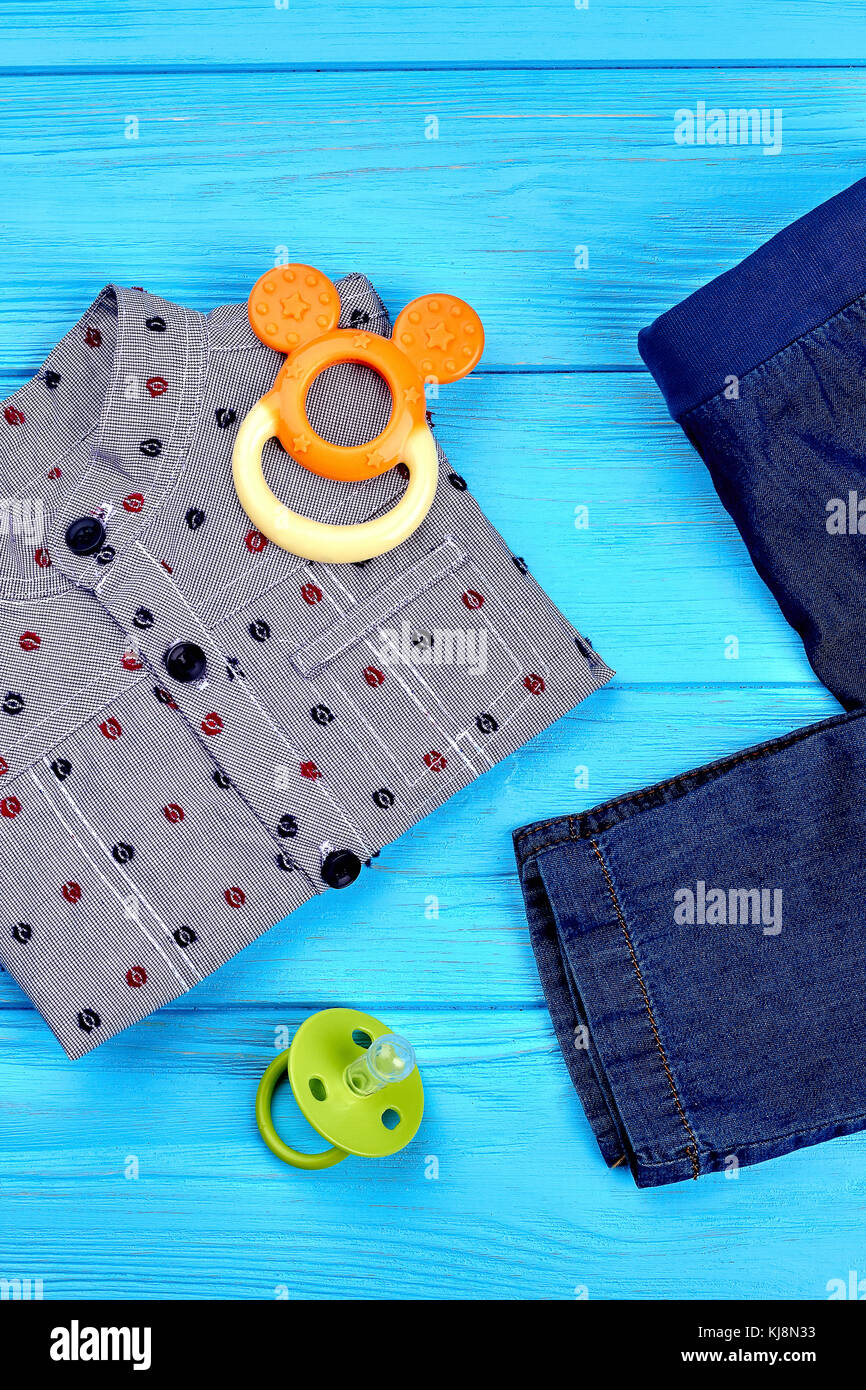 a4c822544 Modern denim clothes for baby-boy. Set of cotton shirt and jean ...