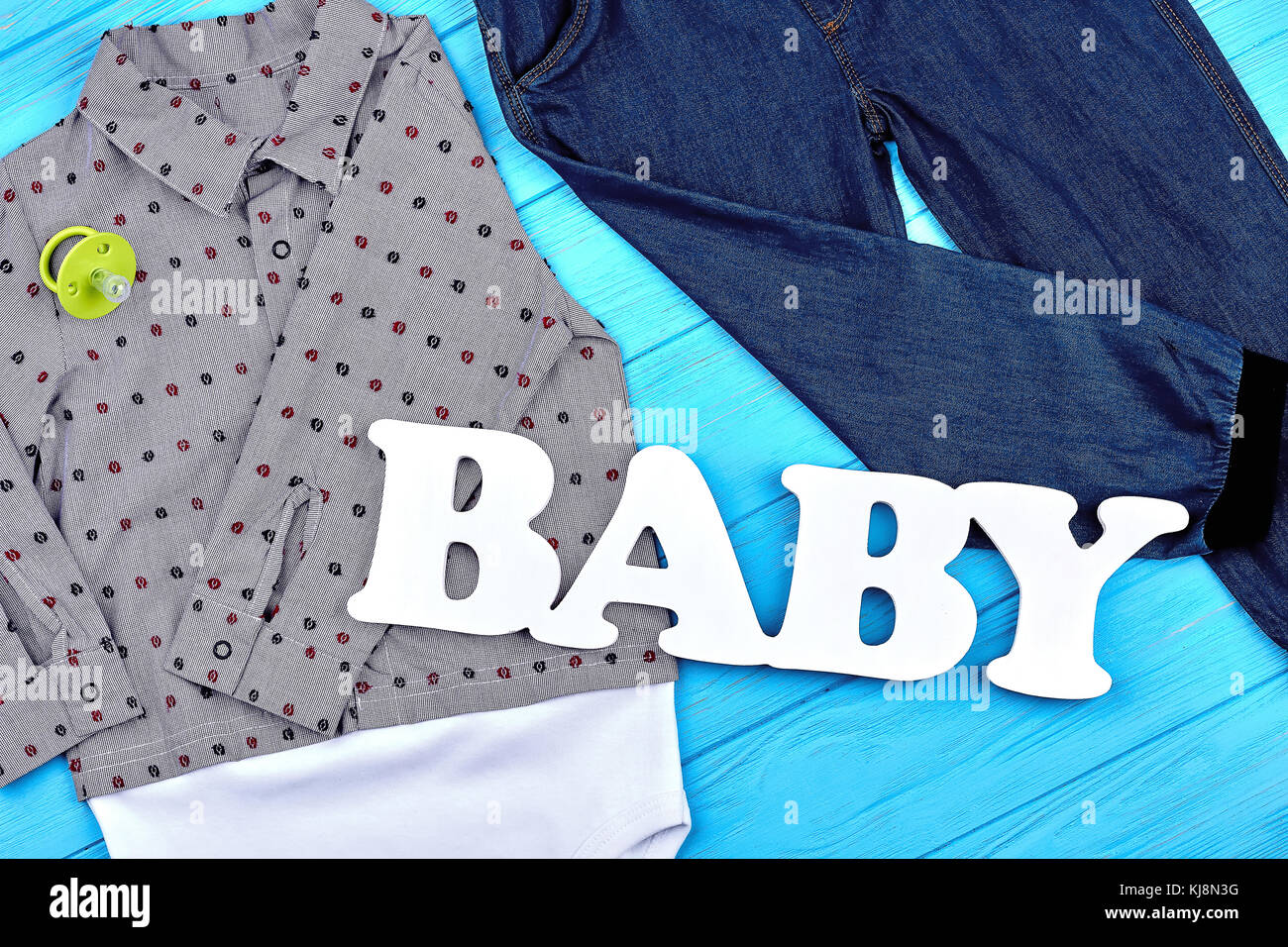 96ae3ab1a0dd0 Baby-boy clothes for autumn wear. Infant boy modern clothes Stock ...