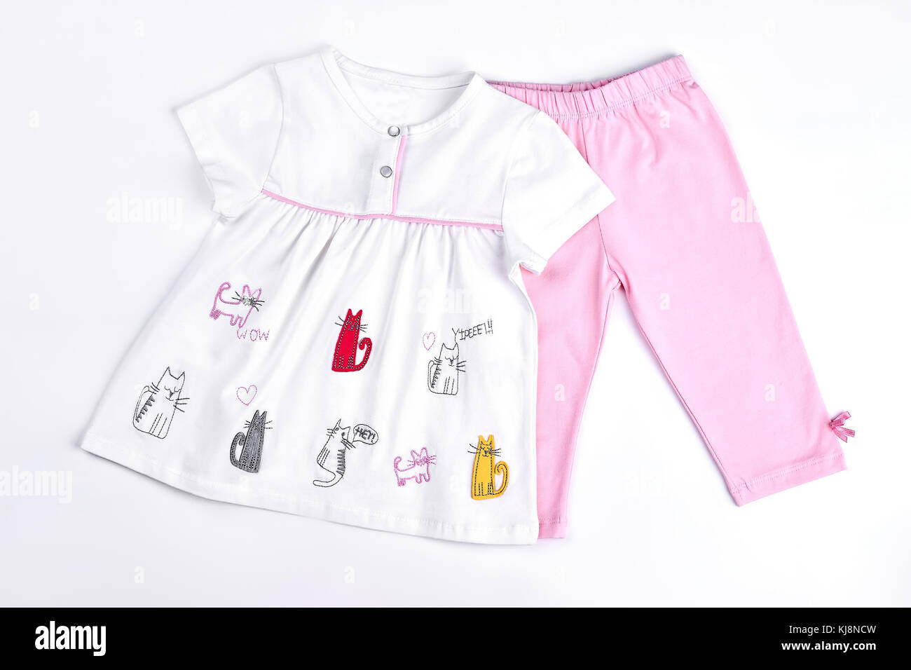 a39f05de4241 Newborn girl beautiful summer clothes. Infant girl set of white cartoon  dress and pink leggings. Baby-girl cute summer garment on sale.