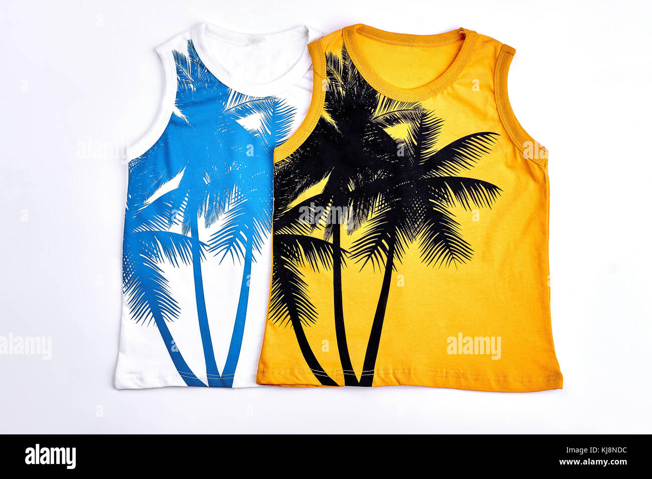 8a213f48e4a Kids fashion design sleeveless t-shirts. Collection of childrens cotton  printed t-shirts