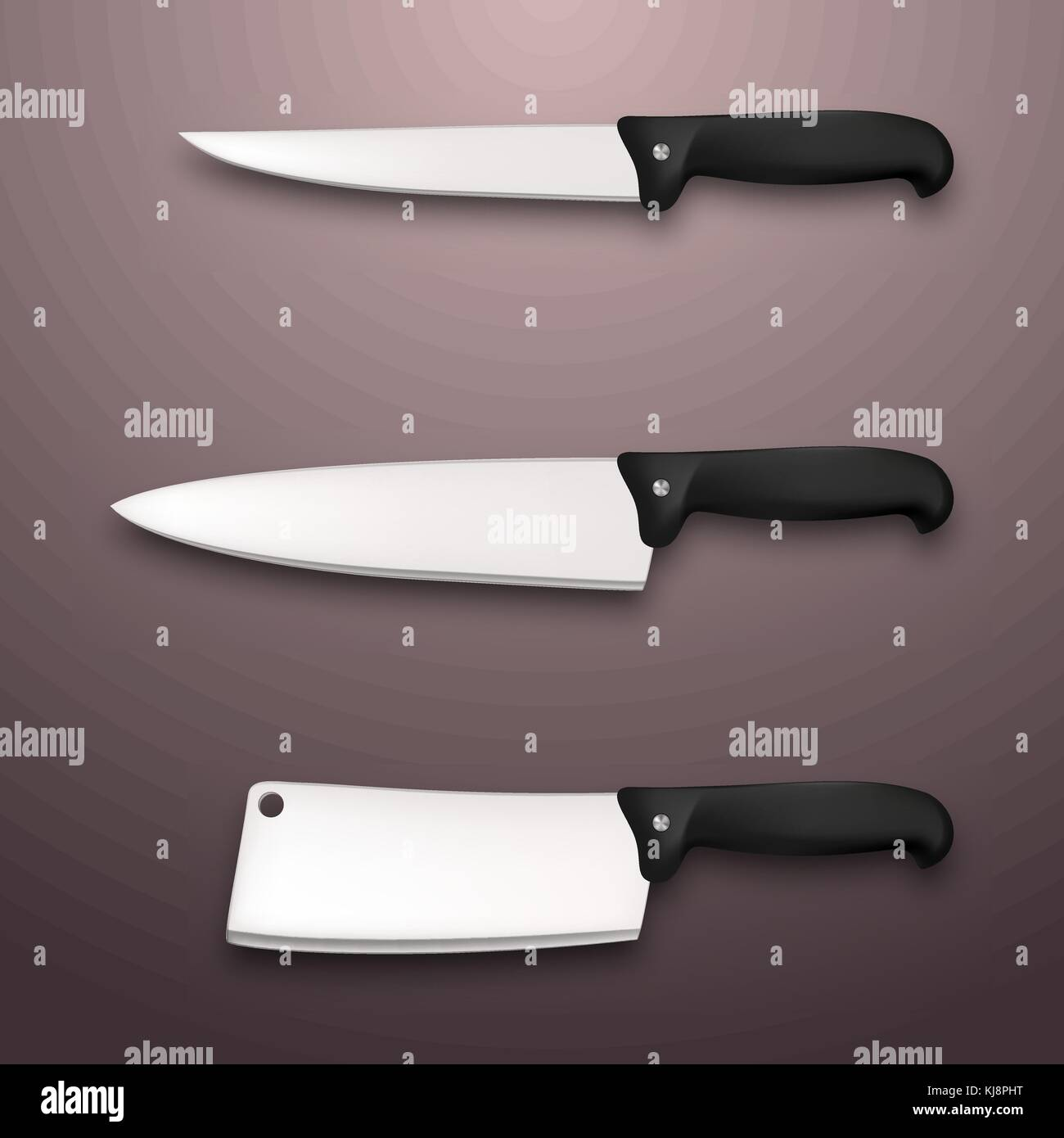 Cutlery icon set - vector realistic kitchen knives isolated. Design template - Stock Image