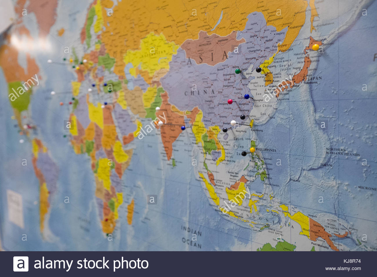 Japan home center not supermarket stock photos japan home center colorful push pins in world map indicating where the diverse student body of wpi call home gumiabroncs Images