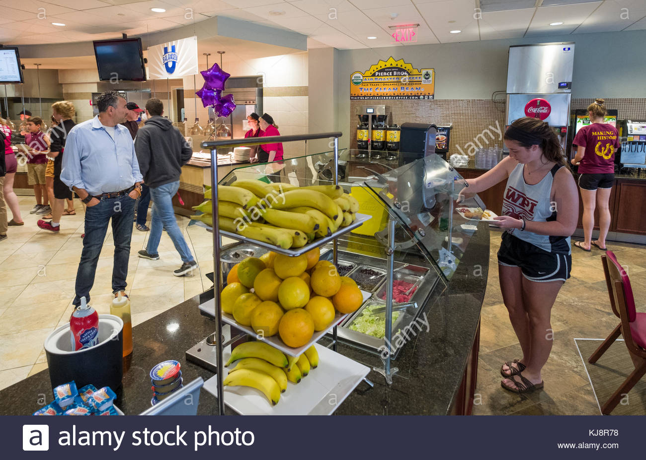 Adults and students in food court inside the Rubin Campus Center, Worcester Polytechnic Institute, Worcester, Worcester - Stock Image