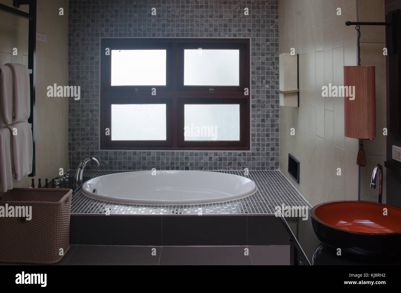 Picture of: Modern Bathroom Interior With Bathtubs And Sinks Stock Photo Alamy