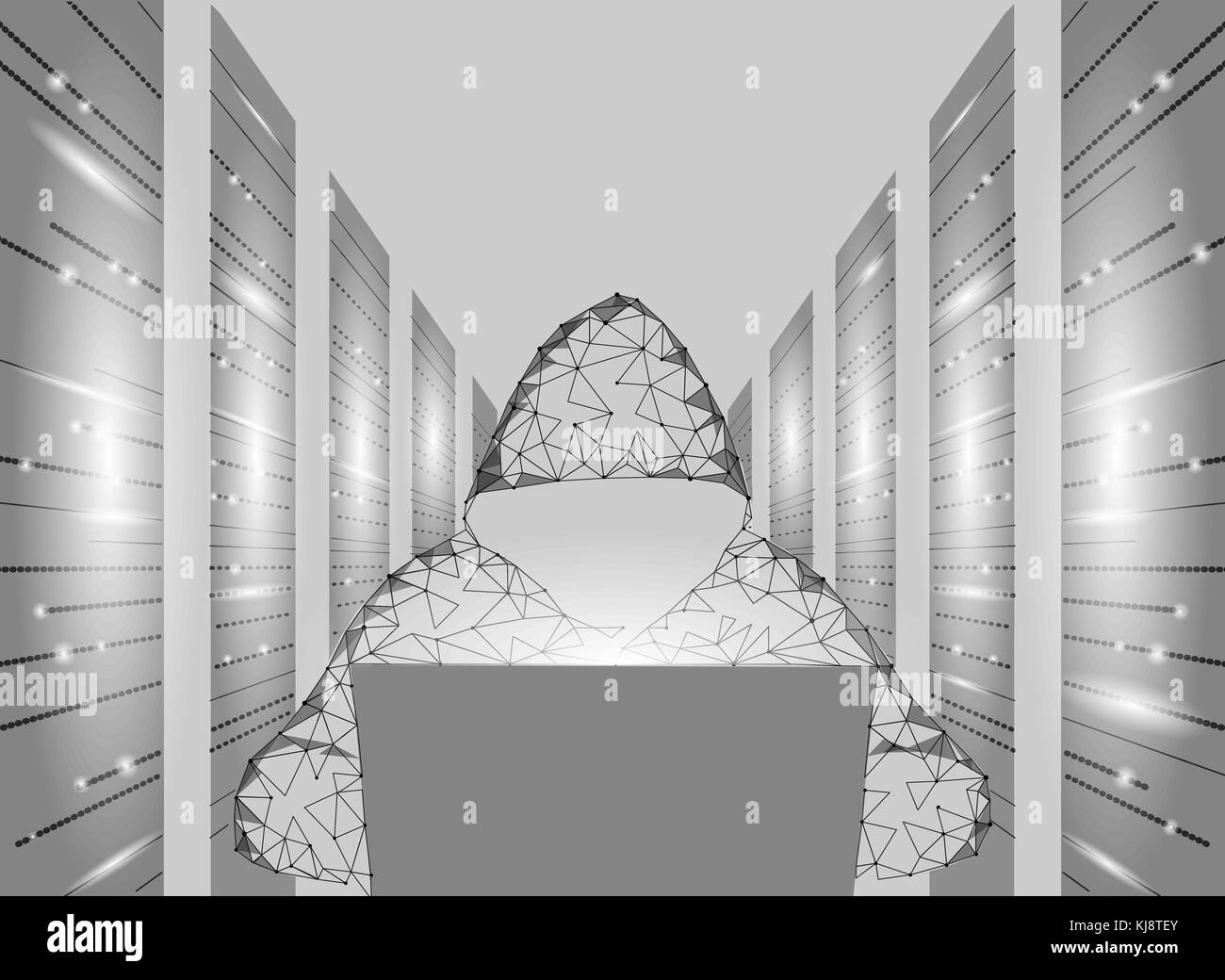Internet security cyber attack business concept low poly. Anonymous hacker laptop computer gray white finance danger. - Stock Image