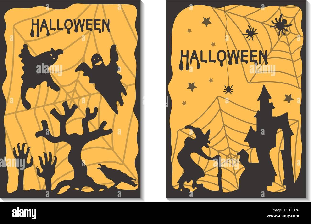 Halloween cards. Vector illustration - Stock Image